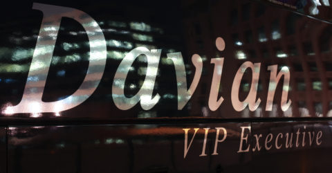 Davian VIP Executive logo on the side of the coach