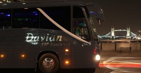 Davian VIP Coach with Tower Bridge in the background