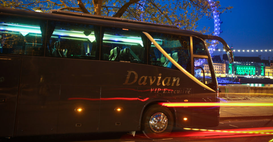 Davian VIP coach with the London Eye in the background