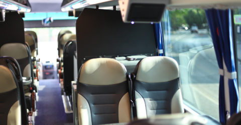 Interior photo of the luxury seating inside the Davian VIP coach