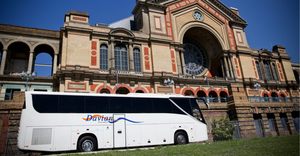 Davian Executive coach parked outside Alexandra Palace in North London