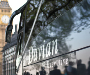 Davian VIP Coach with London's Big Ben in the background